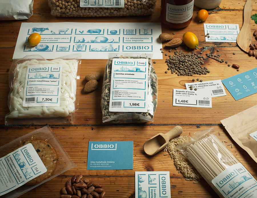 Packaging and print designed by Mayuscula for Spanish organic supermarket Obbio