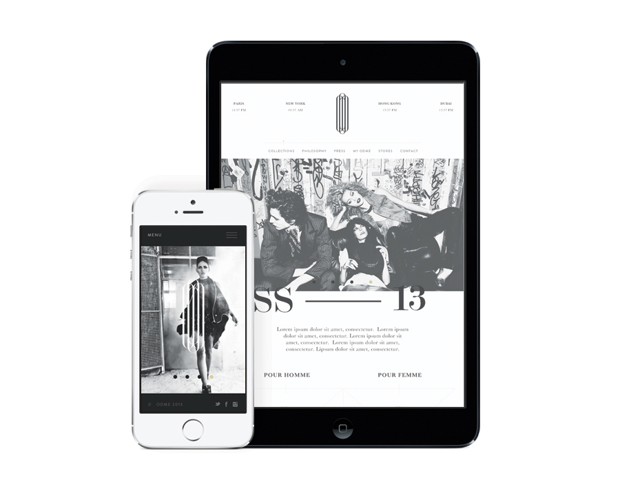 Logo and responsive wbsite designed by Two Times Elliott for Paris accessory brand Odmé