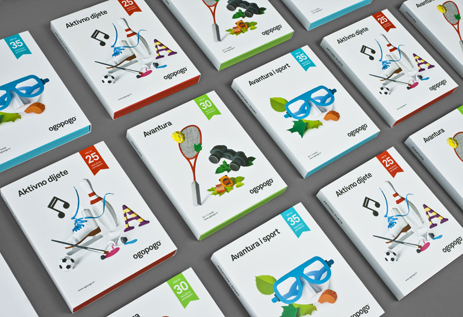 Packaging, logo and paper craft for Croatian boxed experience Ogopogo designed by Bunch