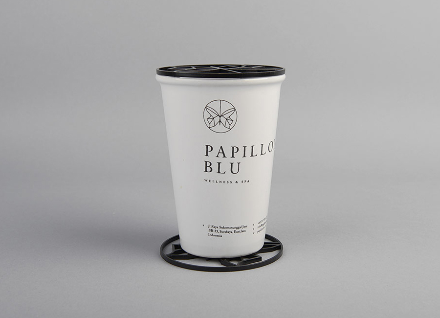 Logo and cup designed by Sciencewerk for Indonesian spa Papillon Blu