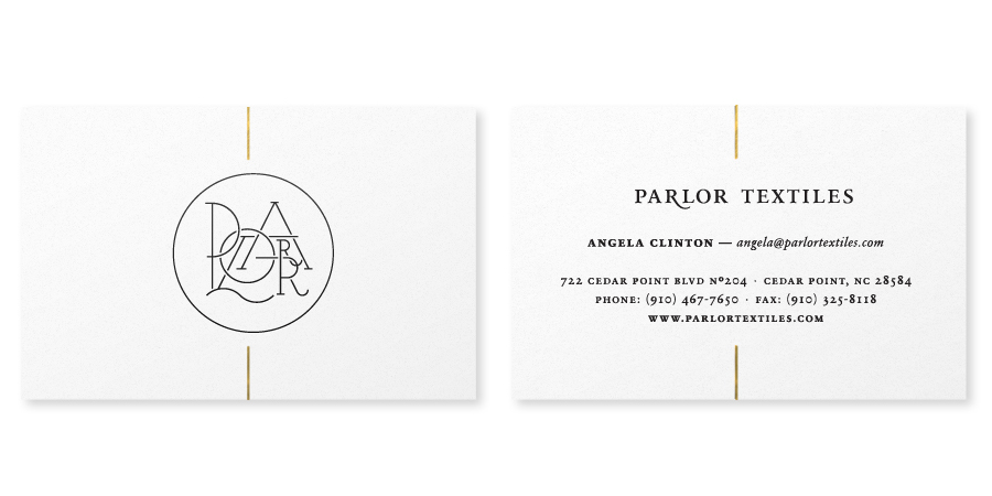 Logo and business card design with gold foil detail created by Face for Parlor Textiles