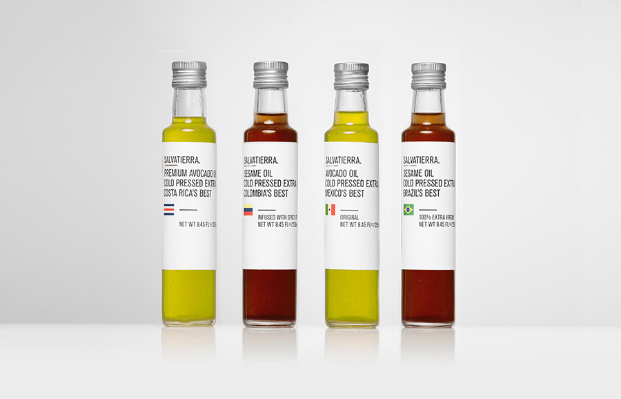 Olive oil packaging by Anagrama for Latin American premium goods exporter Salvatierra