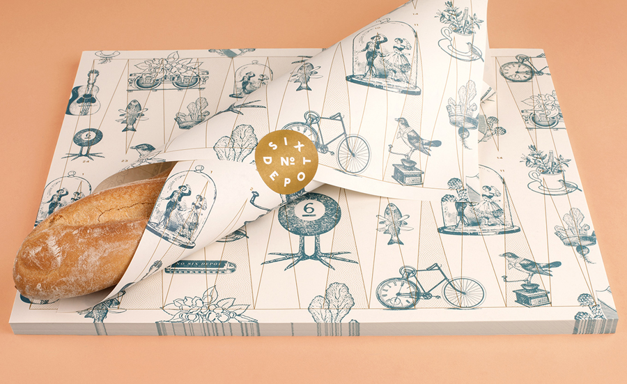 Illustrative wrapping and sticker designed by Perky Bros for small-batch coffee roaster and café No. Six Depot