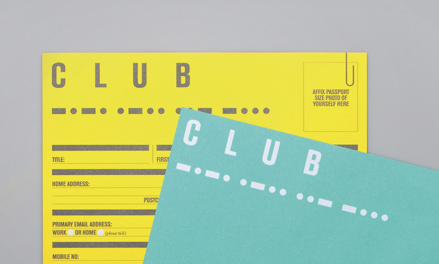 Print with yellow and green papers and white and grey ink detail for South Place Hotel's private members club designed by This Is Colt