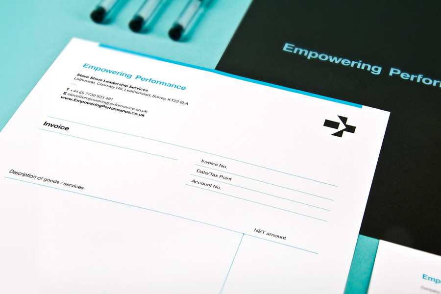Logo and invoice layout designed by Analogue for management professional Steve Shine