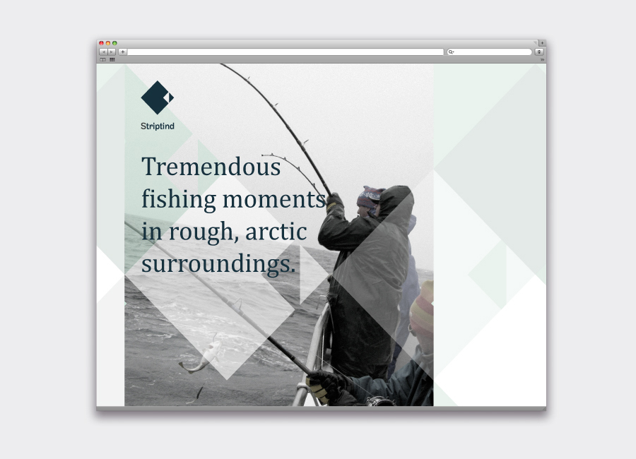 Logo, photography and typography by Neue for Norwegian deep sea fishing experience Striptind
