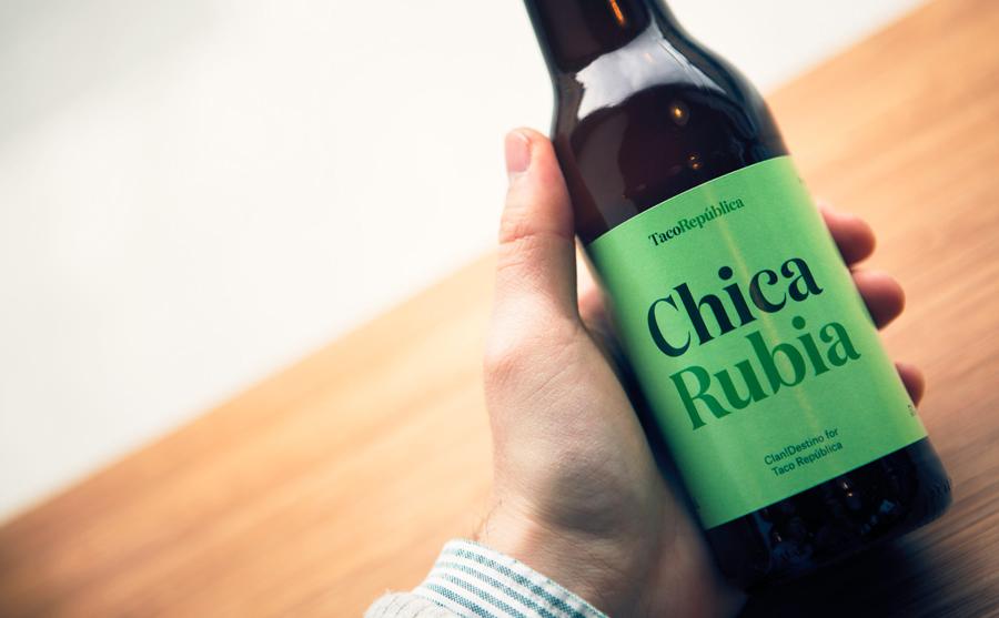 Beverage label for Taco República designed by Bielke+Yang