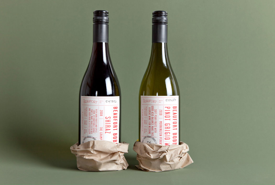 Logo and wine label design for Melbourne-based themed dive bar The Beaufort, developed by The Company You Keep