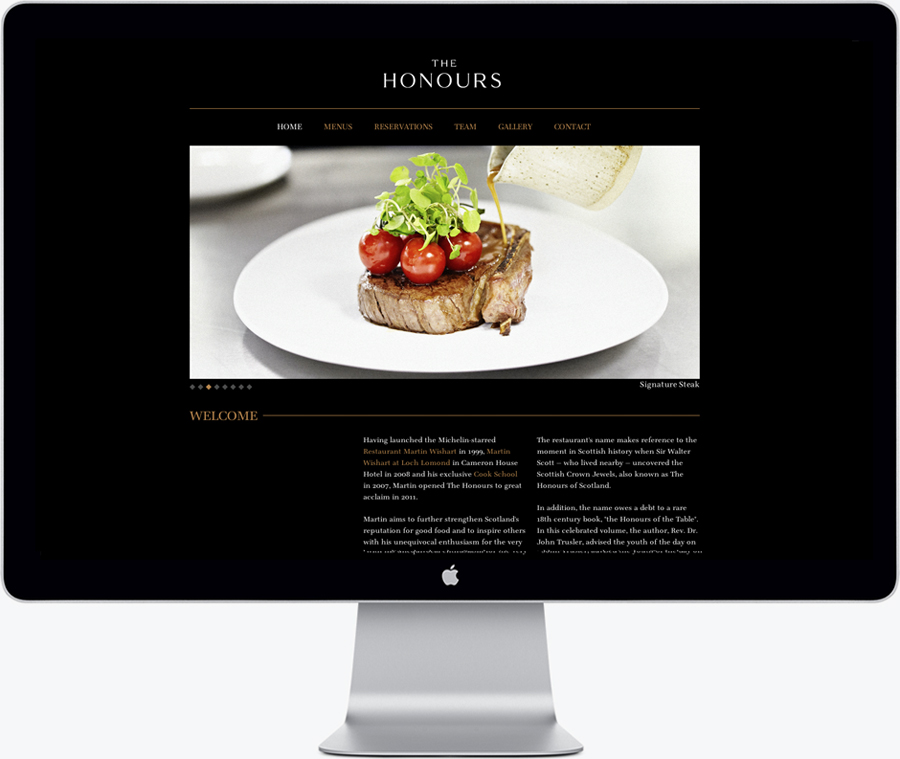Logo and website for brasserie The Honours designed by Touch