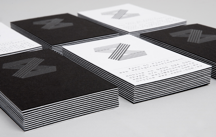 Logo and duplex business card with foil detail for web developer Zann St Pierre created by ThoughtAssembly