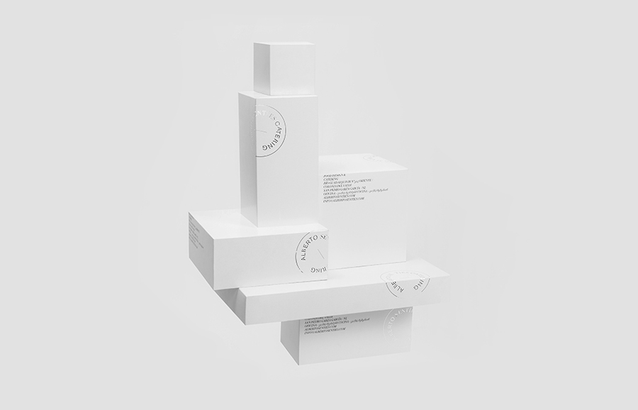 Logo and packaging with silver foil finish for Alberto Senties Catering designed by Anagrama