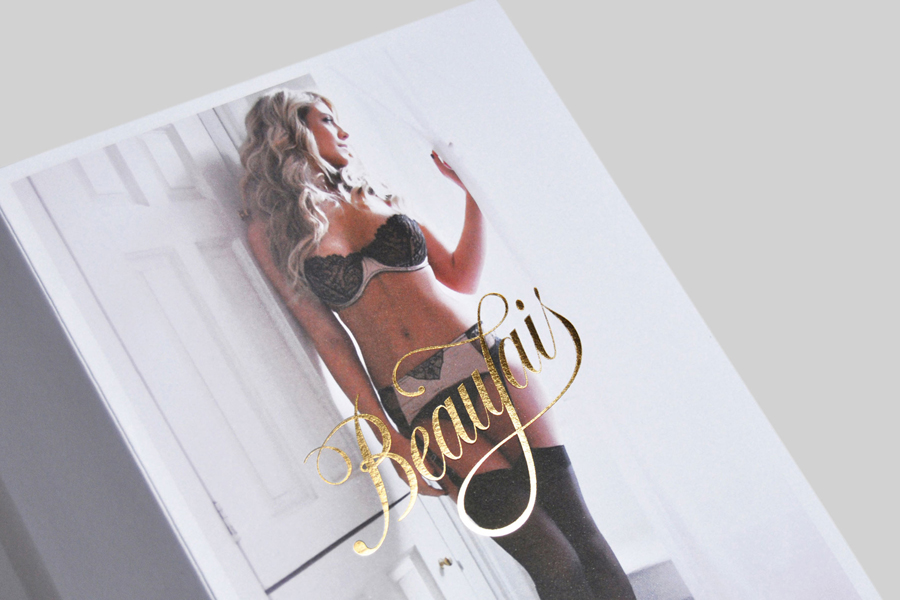 Logo and print with gold foil print finish designed by Parent for luxury lingerie brand Beaujais