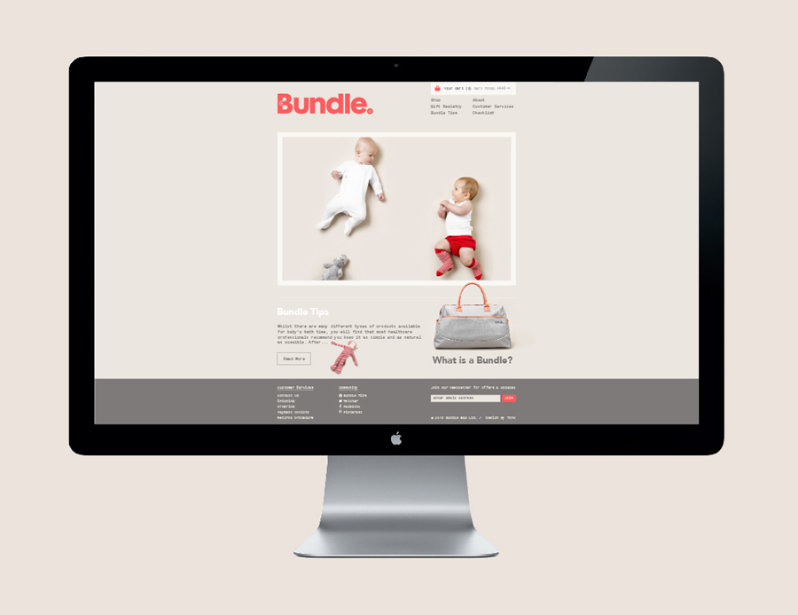 Logo and website featuring photography by Scottie Cameron designed by The Company You Keep for curated mum-to-be hospital bag service Bundle
