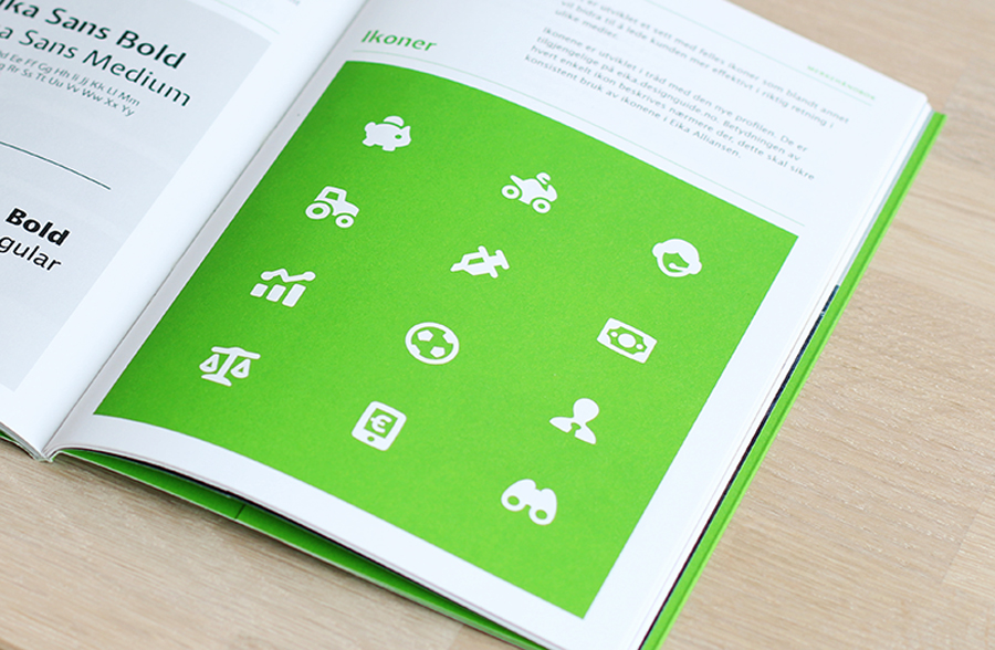 Brand book with green spot detail designed by Mission for local bank alliance Eika