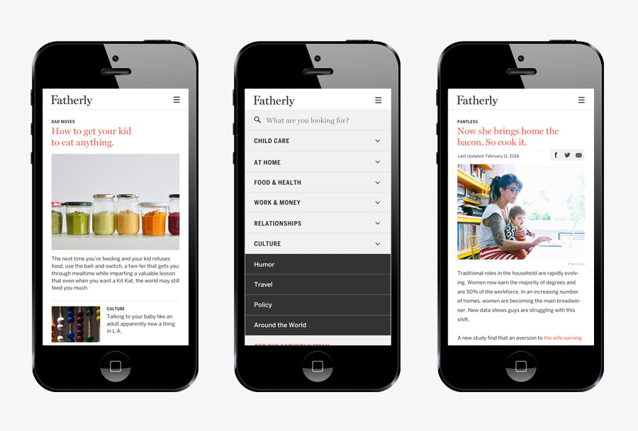 Mobile website designed by Apartment One for dad-centric parenting media platform Fatherly