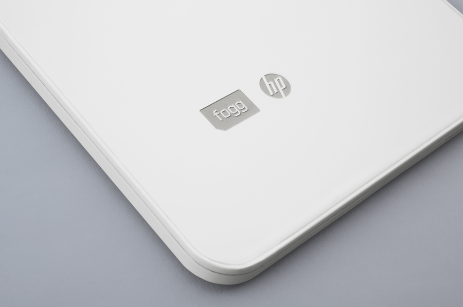 White painted and laser etched laptop created by Bunch to commemorate Fogg's Datapass service