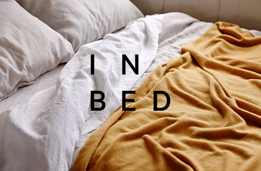 Logo and photography for online linen retailer In Bed designed by Moffitt.Moffitt