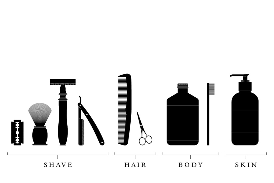 Illustration designed by ThoughtAssembly for male grooming business Men's Biz