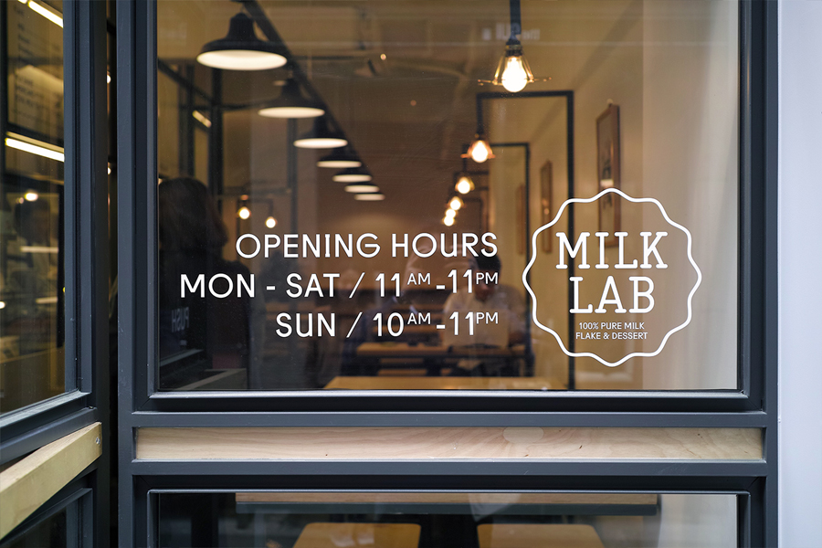 Interior signage designed by Studio FNT for South Korean dessert restaurant Milk Lab