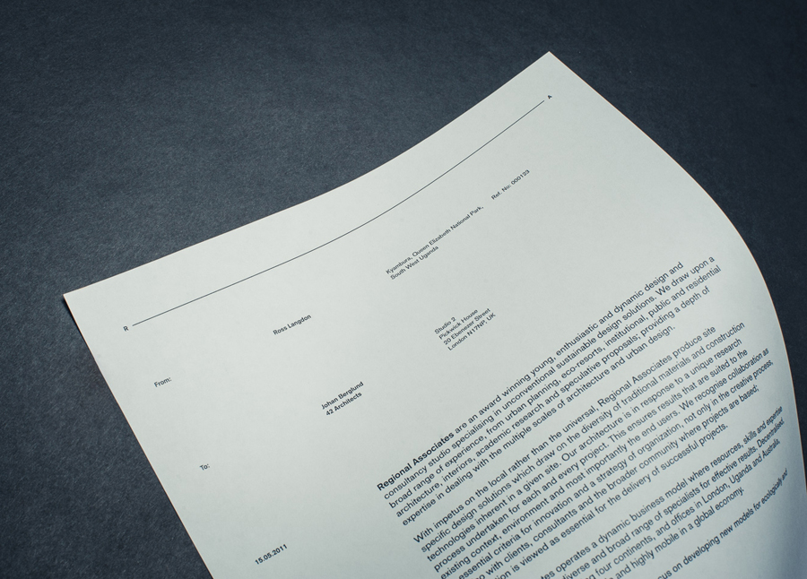 Letterhead designed by Commando Group for architecture and research consultancy Regional Associates