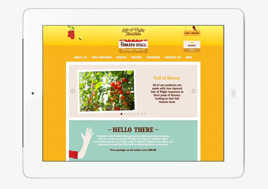 Visual identity and website by Designers Anonymous for speciality tomato grower and artisan tomato product producer The Tomato Stall
