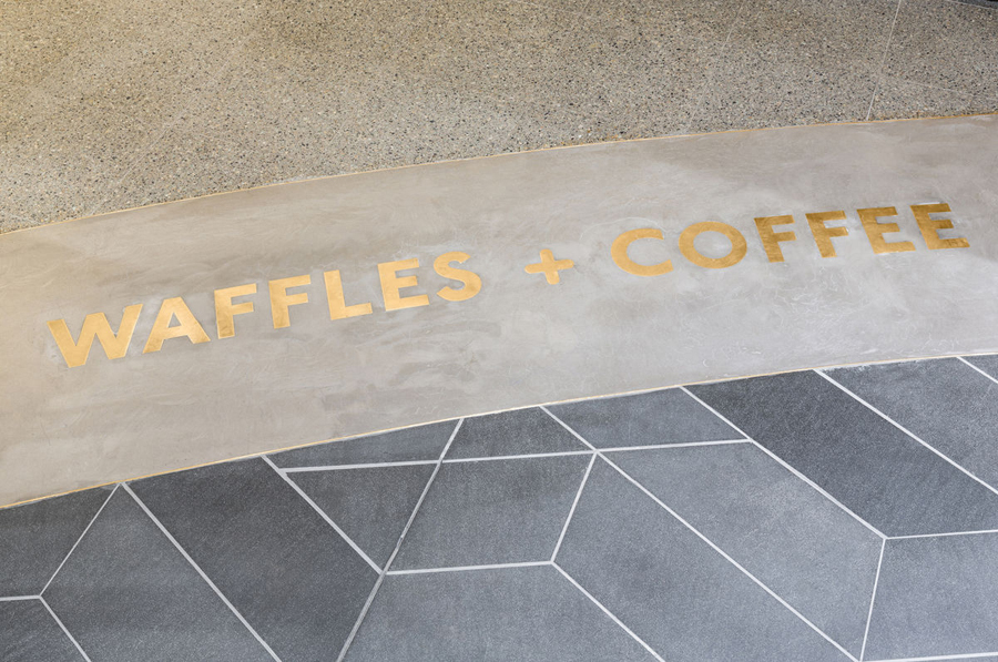 Interior detail of Belgian waffle and coffee chain Waffee