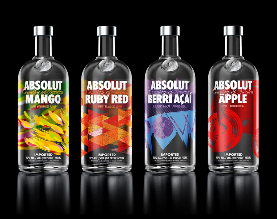 Packaging with handcrafted illustrative detail for premium Swedish flavored vodka range from Absolut designed by The Brand Union