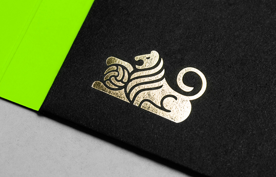 Logo as a gold foil detail by Anagrama for football scout and transfer business Anthem