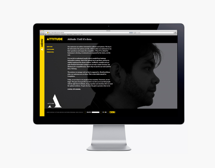 Website designed by Bond for Finnish information system development and optimisation company Attido