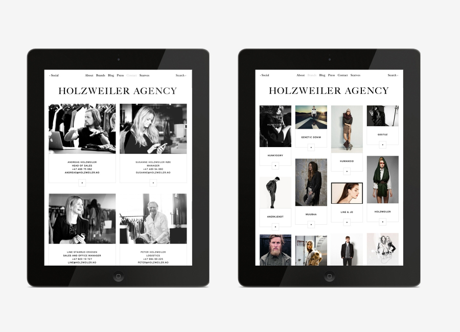 Logo and mobile website designed by Bielke+Yang for contemporary fashion distributor Holzweiler