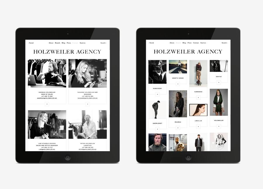Logo and mobile website designed by Bielke+Yang for contemporary fashion distributor Holzweiler