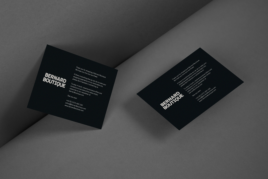 Logo and print work for award-winning fashion store Bernard Boutique designed by Bunch