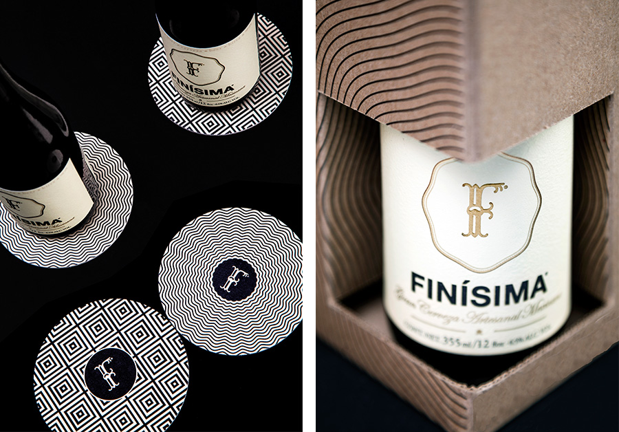 Coasters and packaging designed by Savvy for premium craft beer label Finísima