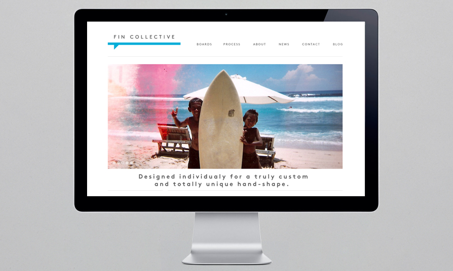 Logo and website designed by DIA for custom surfboard maker Fin Collective