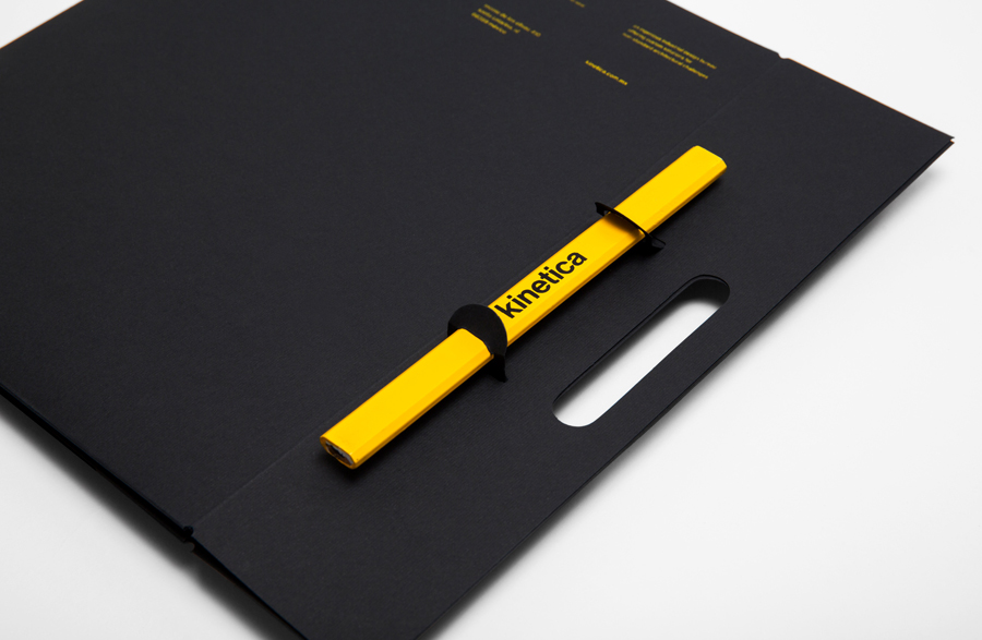 Logotype and folder designed by Face for industrial design studio Kinetica