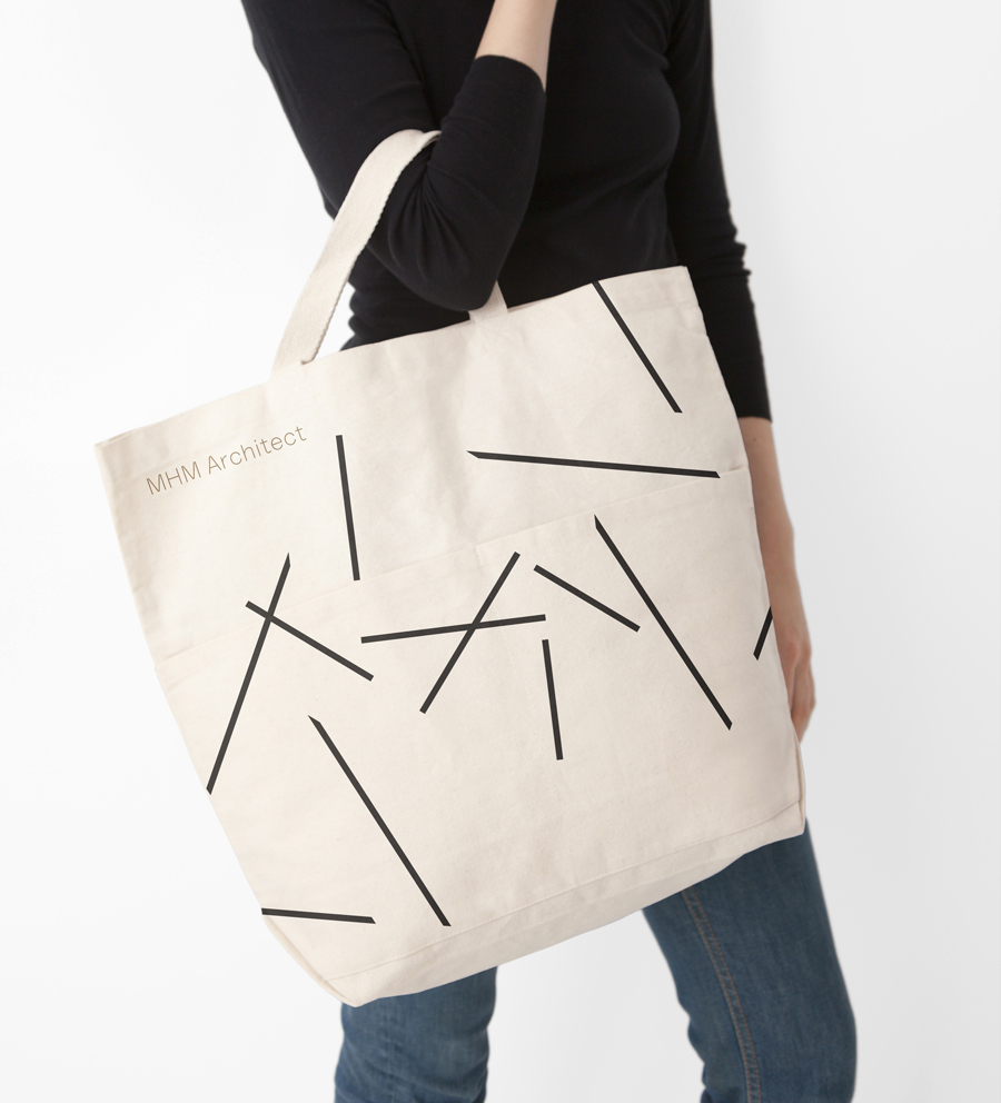 Logo and tote bag for MHM Architects designed by 26 Lettres