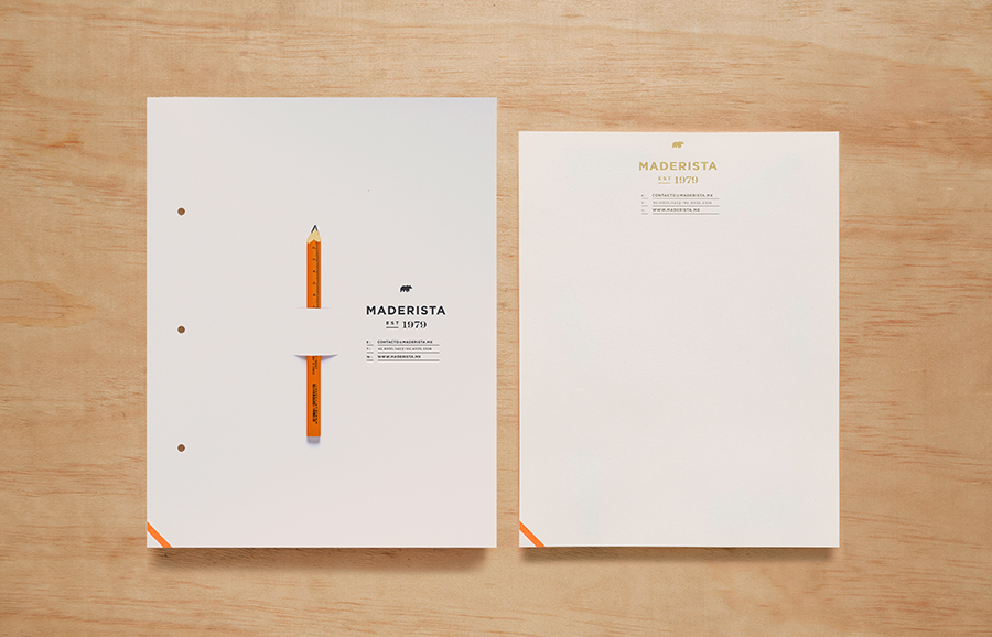 Logo, folder and headed paper for San Pedro-based carpentry studio Maderista designed by Anagrama