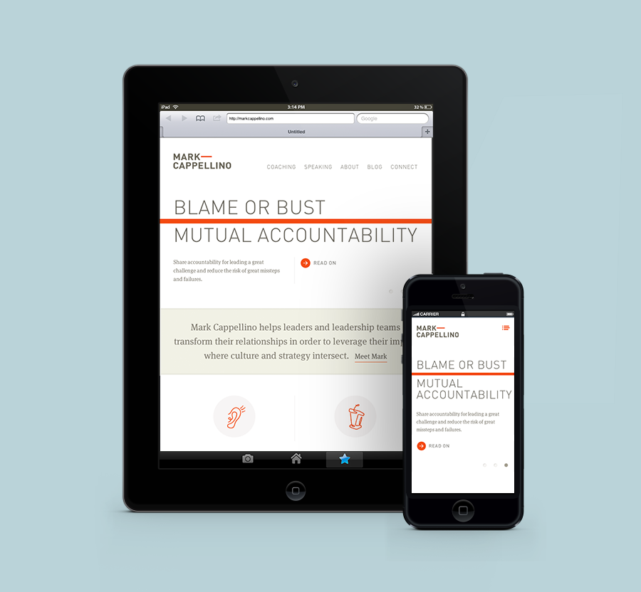 Brand identity and website designed by Perky Bros for leadership consultant Mark Cappellino
