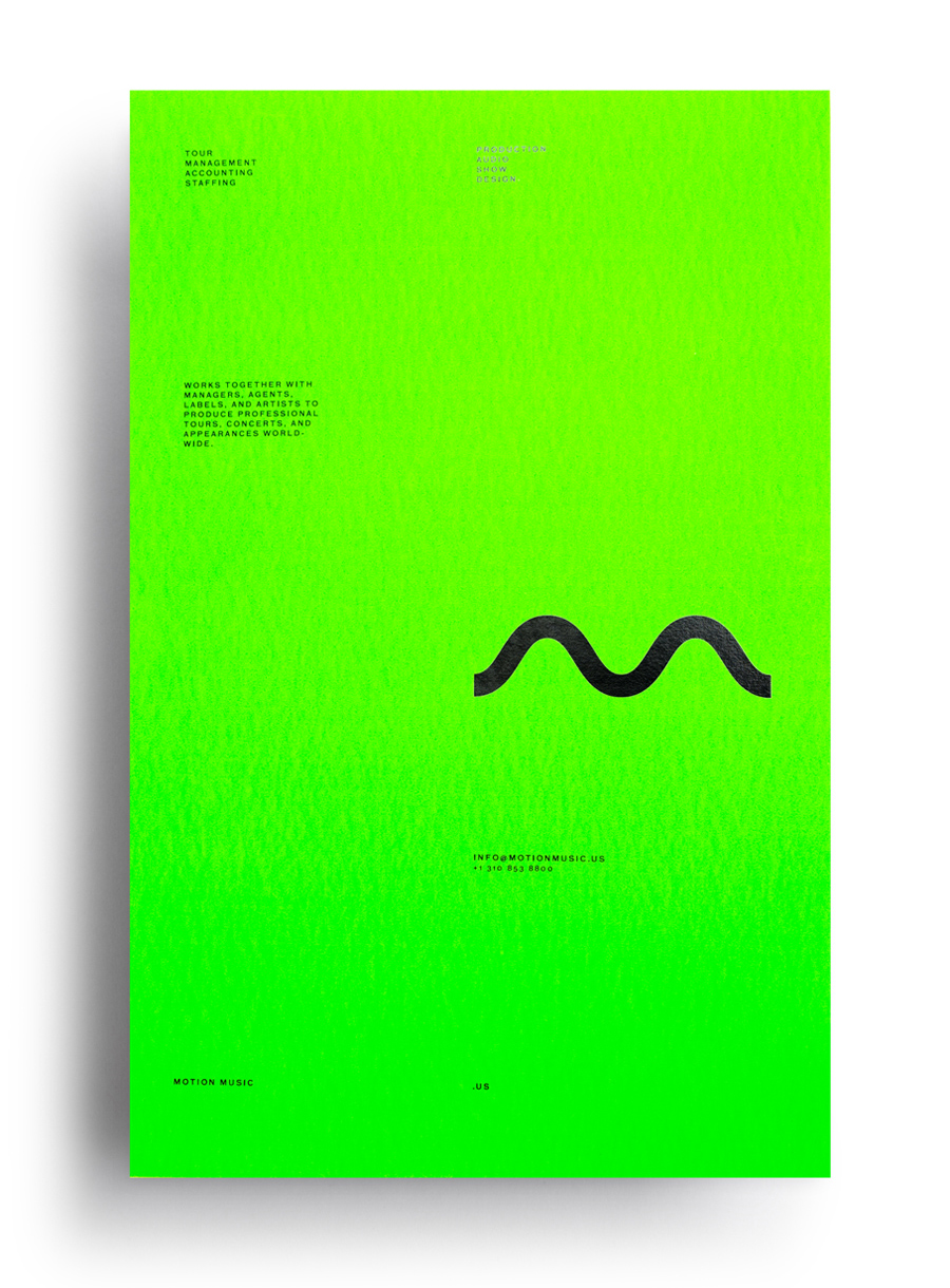 Logo and fluorescent green poster with black block foil detail designed by Face for tour management agency Motion Music