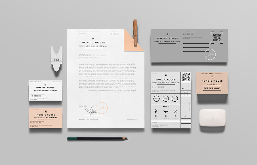 Logo, stationery and soap packaging designed by Anagrama for dry cleaning shop Nordic House