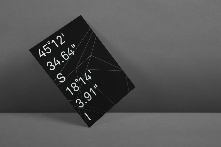 Print with white ink on black board for structural engineering firm Nosive Strukture designed by Bunch