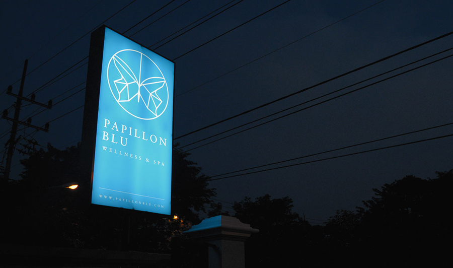 Logo as signage designed by Sciencewerk for Indonesian spa Papillon Blu