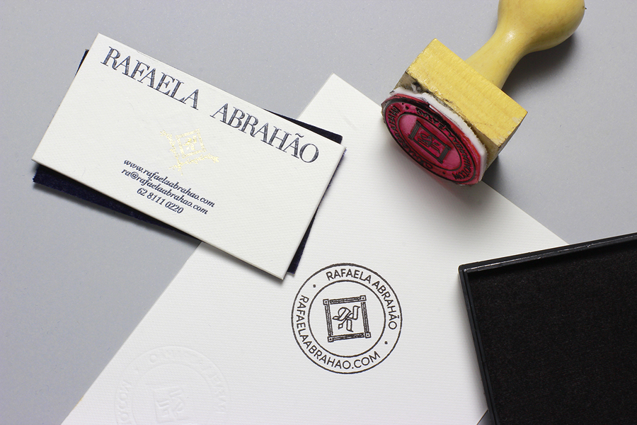 New brand identity for rafaela abraho by brbauen bpo logotype monogram and duplex business card with gold foil detail designed by brbauen brazilian fashion blogger colourmoves