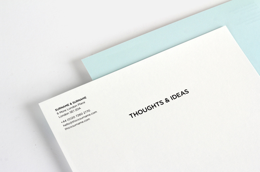 Logo and stationery designed by NB Studio for consumer focused brand communications agency Surname & Surname