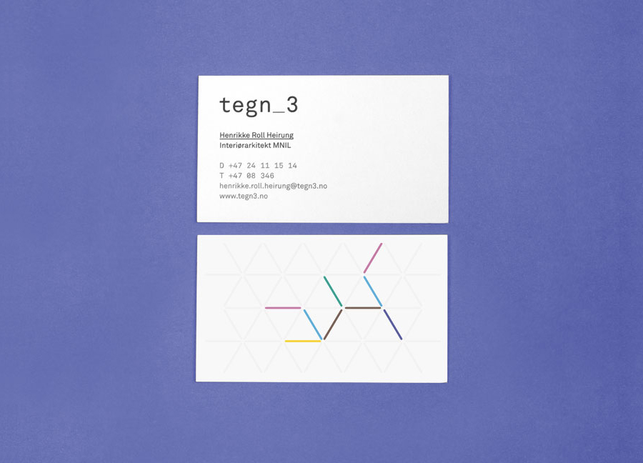 Business card design with embossed geometric pattern detail by Neue for Norwegian architecture studio Tegn_3