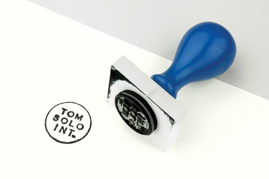 Logo and black ink hand stamp for photographer Tom Solo designed by Mash Creative