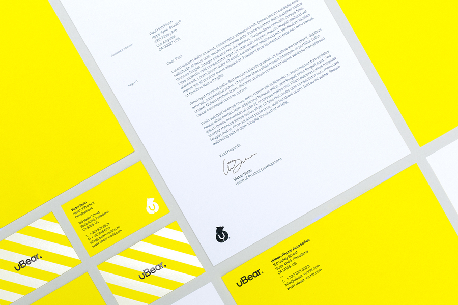 Stationery designed by Hype Type Studio for high end mobile phone, tablet and laptop accessories company U-Bear