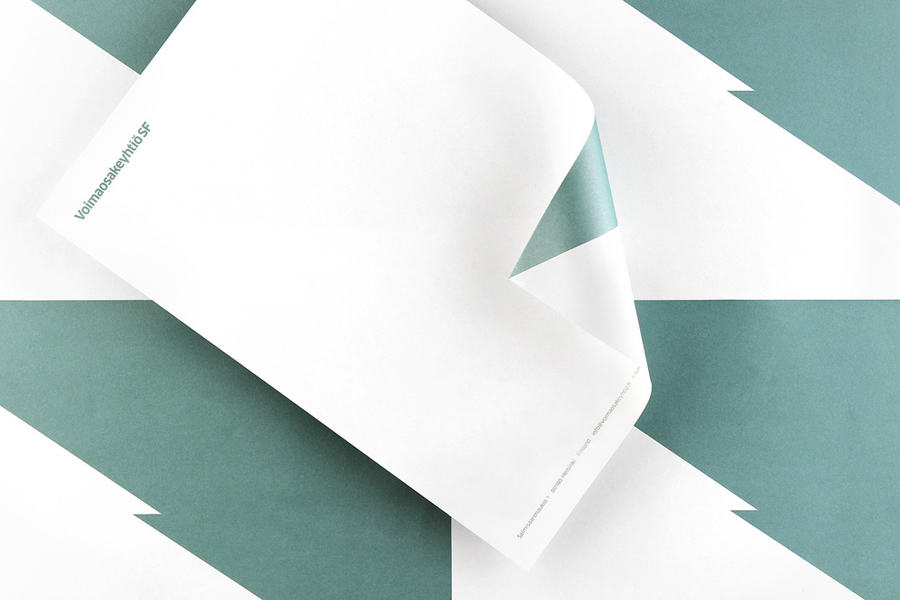 Logotype and letterhead with metallic ink print detail designed by Werklig for Voimaosakeyhtiö SF