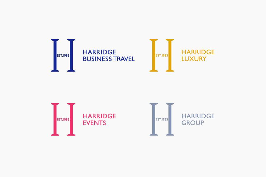 Logo design by Igloo for corporate travel company Harridge Group