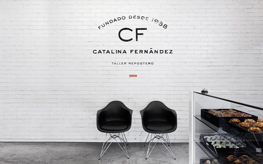 Logotype and interior signage designed by Anagrama for San Pedro pastry shop Catalina Fernandez